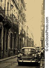 havana, stary, kuba, wóz, amerykańska ulica
