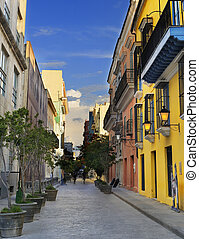 Havana street with colorful buildings - A view of Old Havana...