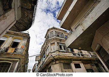 Havana street with eroded building