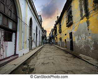 Havana street with eroded buildings