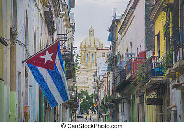 Havana street with flag