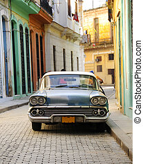 havanna, öreg, autó, american utca, parkolt