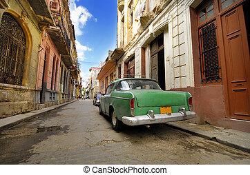 havanna, öreg, kopott, kuba, autó, utca