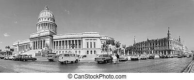 havanna, cuba-may, 14:vintage, bilar, nära, kapitoliet, på,...