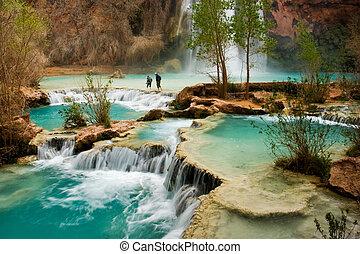 Hiking at beautiful Havasu Falls in Arizona.