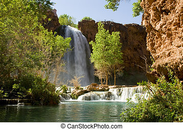 Havasu Falls waterfall located in the Grand Canyon in...