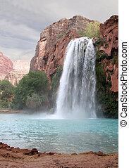 Havasu Waterfall - A view of the havasu waterfall within the...