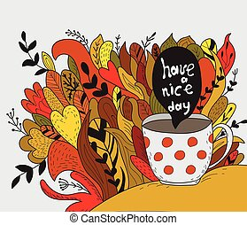 Have a nice day. Autumn doodle - Template