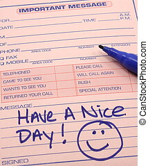 Have a nice day on an Important Message pad