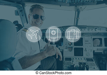 Have a nice flight. Digitally composed icon set over a picture of smiling pilot sitting in cabin crew