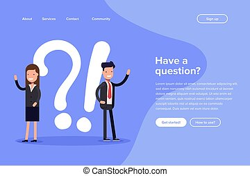 Have a question vector illustration concept. Digital business. People asking to online support center. Can use for landing page template, ui, web, mobile app, poster, banner, flyer.