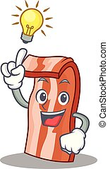Have an idea bacon mascot cartoon style vector illustration