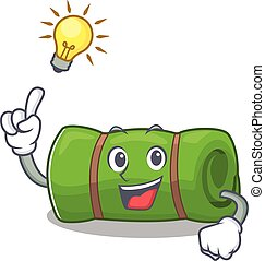 Have an idea camping mat Scroll cartoon character design....