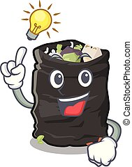 Have an idea garbage bag behind the character door vector illustration