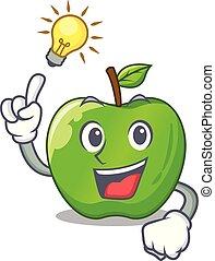 Have an idea green smith apple isolated on cartoon vector...