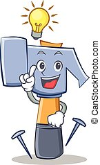 Have an idea hammer character cartoon emoticon