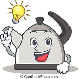 Have an idea kettle character cartoon style vector...