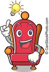 Have an idea king throne mascot cartoon