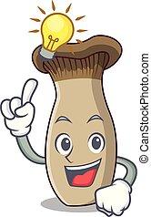 Have an idea king trumpet mushroom mascot cartoon