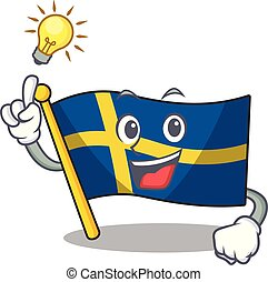 Have an idea swede flags flutter on character pole vector ...