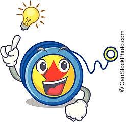 Have an idea yoyo mascot cartoon style vector illustration