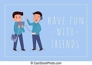 Have fun with friends banner template. Schoolboy wearing...