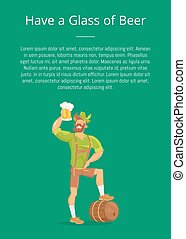 Have Glass of Beer Poster with Man Drinking, Text