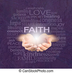 Female cupped hands with the word 'FAITH' floating above surrounded by a cloud of words related to faith on a purple crackle background