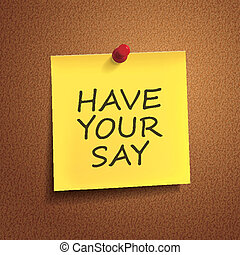 have your say words on post-it