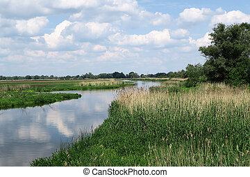 Havel river in summer flowing through Havelland (Brandenburg, Germany). meandows around.
