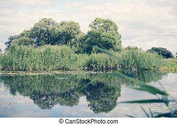 Havel river landscape at summer time (Havelland, Germany). Vintage retouch of image