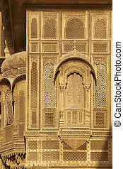 Haveli in Jaisalmer - Delicate carved stone walls and window...