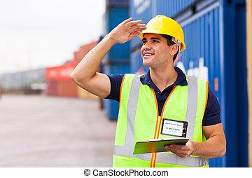 haven, arbeider, magazijn, container, werf