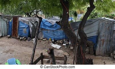 haven-au-prins, huizen, bladmetaal, haïti, tarp