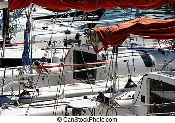 haven, bootjes, moored, zeilend