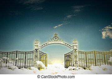 haven gate - 3d illustration of the heaven gate