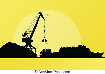 haven, inlading, steenkool, vector, vrachtschip, kraan