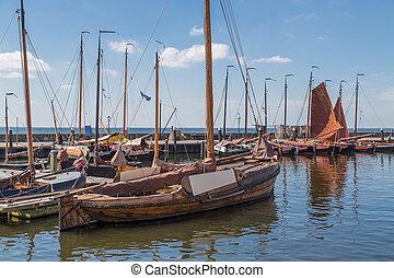 haven, urk, traditionele , houten, visserij, hollandse,...