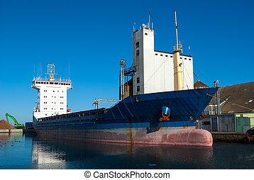 haven, vrachtschip, container