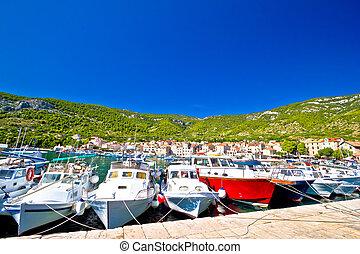haven, zomer, bootjes, komiza, aanzicht