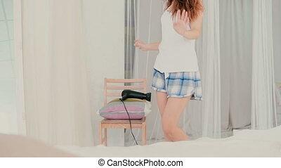 haves, amusement, femme, danser., réflexion., motion., jeune...