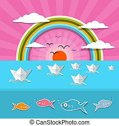 havet, abstrakt, solnedgang, solopgang, illustration, hos, sol, fugle, regnbue