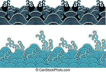 havet, seamless, bølger