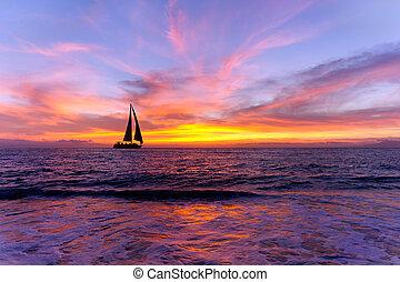 havet, solnedgang, sejlbåd, silhuet