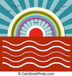 havet, solnedgang, -, solopgang, vektor, illustration, hos, regnbue