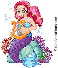 havfrue, karakter, cartoon, cute