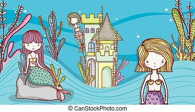 havfruer, cute, liden, cartoons