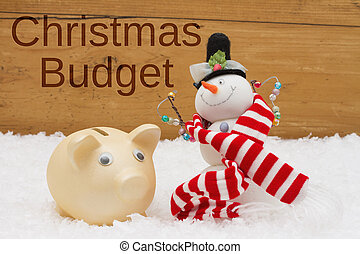 Having a Christmas Budget, Piggy bank and Snowman with scarf on snow
