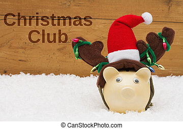 Having a Christmas Club Savings Plan, Piggy bank with Christmas hat on snow