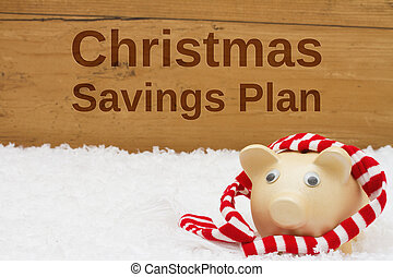 Having a Christmas Savings Plan, Piggy bank with scarf on snow